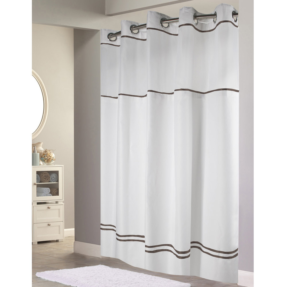 hookless hbh40mys0129sl77 white with brown stripe escape shower curtain with chrome raised flex on rings it s a snap polyester liner with magnets
