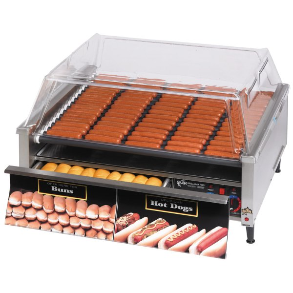 Star Grill-max Pro 75stbd 75 Hot Dog Roller Grill With Bun Drawer Analog Controls And Staltek
