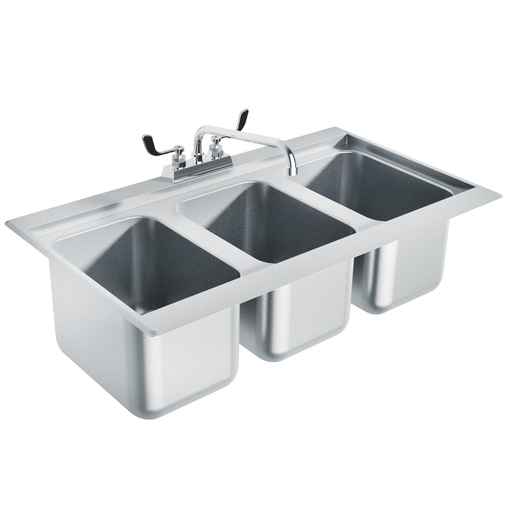 Advance Tabco DBS3 Three Compartment Stainless Steel Drop