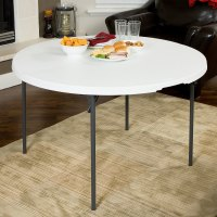 """Lifetime Round Fold-in-Half Table, 48"""" Plastic, White ..."""