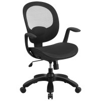 Mid-Back Black Mesh Office Chair with Seat Slider, Ratchet ...