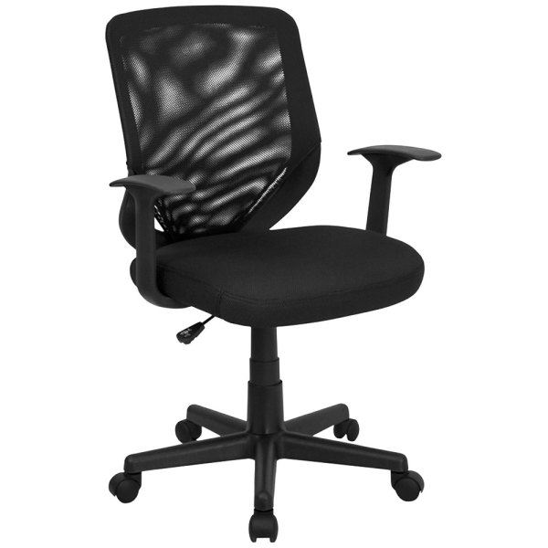 mid back office chair black Mid-Back Black Mesh Office Chair with Mesh Fabric Seat and Nylon Base