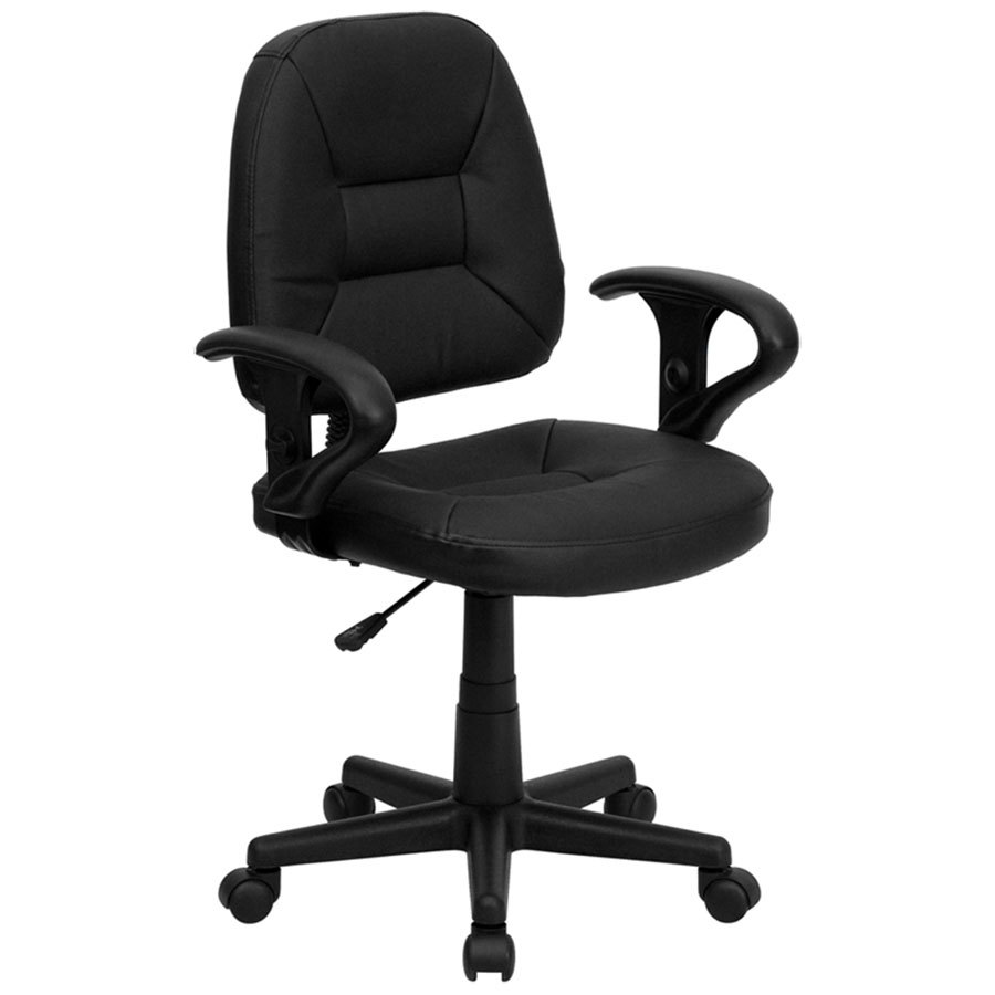 MidBack Black Leather Ergonomic Office Chair  Task Chair