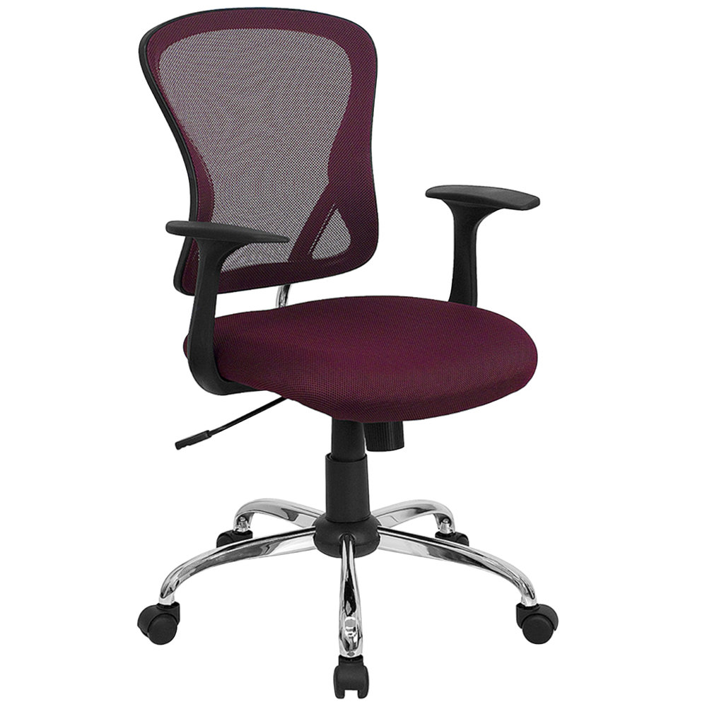 MidBack Burgundy Mesh Office Chair with Arms Padded Seat