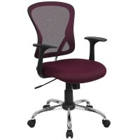 Mid-Back Burgundy Mesh Office Chair with Arms, Padded Seat ...