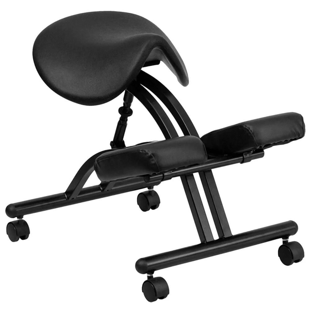 Black Ergonomic Mobile Kneeling Office Chair with Black