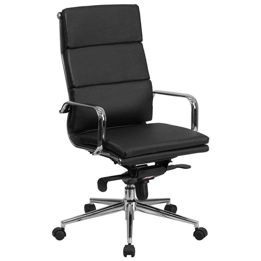 HighBack Black Leather Executive Swivel Office Chair with