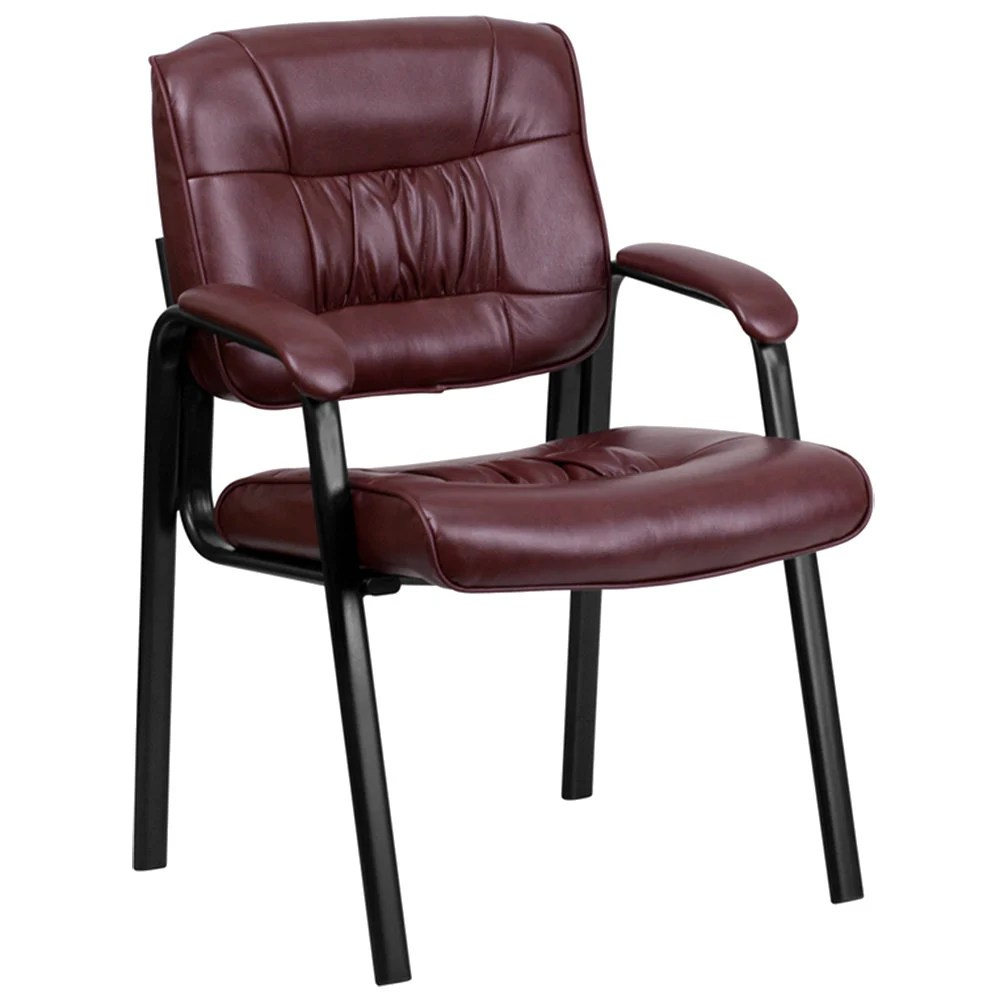 Burgundy Leather Executive Side Chair with Black Frame Finish