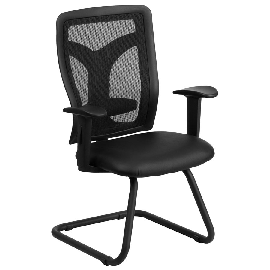 Black Mesh Side Arm Chair with Leather Seat and Adjustable