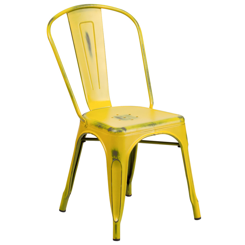 Flash Furniture ET3534YLGG Distressed Yellow Stackable