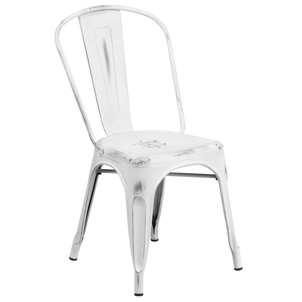 Distressed White Stackable Metal Chair with Vertical Slat