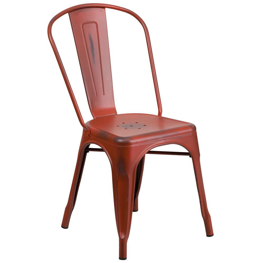 Distressed Kelly Red Stackable Metal Chair with Vertical