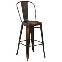Distressed Copper Metal Bar Height Stool with Vertical ...