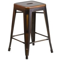 Distressed Copper Stackable Metal Counter Height Stool ...
