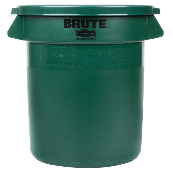 Rubbermaid Brute 10 Gallon Green Trash And Lid