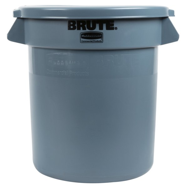 Rubbermaid Brute 10 Gallon Gray Trash And Lid