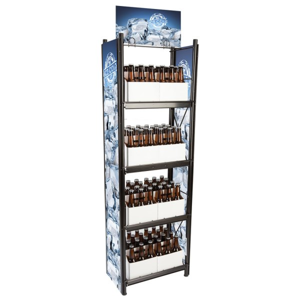 """Irp Wr-027 4-shelf Beer And 6-pack Display Rack - 20"""" X 11"""" 62"""""""