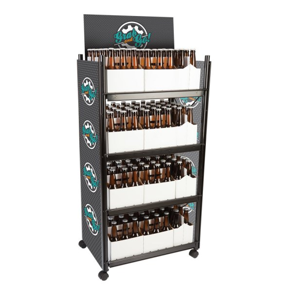 """Irp Wr-012 4-shelf Beer And 6-pack Display Rack - 23"""" X 16 1 2"""" 52"""""""