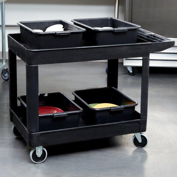 Rubbermaid Fg452089bla Black 500 Lb. Two Shelf Utility Cart - 45 1 4