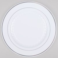 """Fineline Silver Splendor 510-WH White 10"""" Plastic Plate ..."""