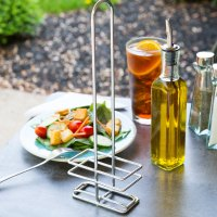 Tablecraft 9085R Chrome Olive Oil / Vinegar Cruet Rack