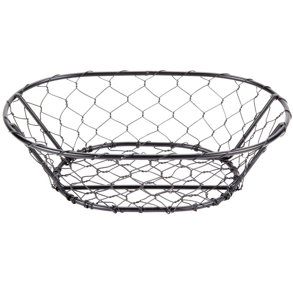 American Metalcraft WIR4 Oval Black Chicken Wire Basket