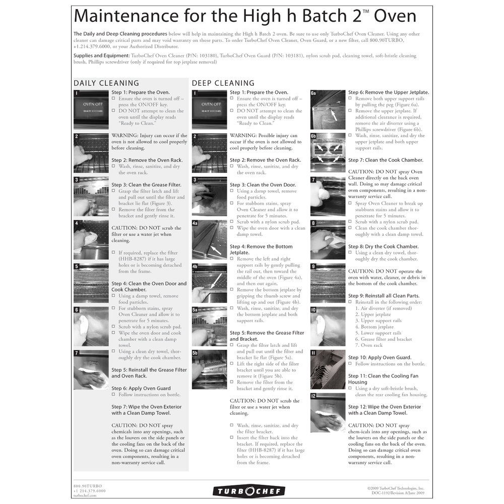 TurboChef DOC-1192 Daily High h Batch 2 Oven Cleaning Poster