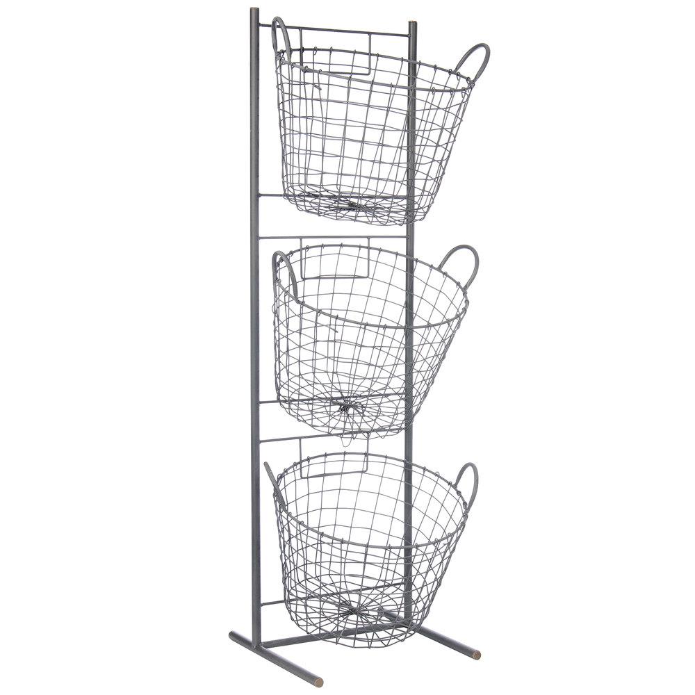 3-Tier Round Wire Basket Merchandising Display (45