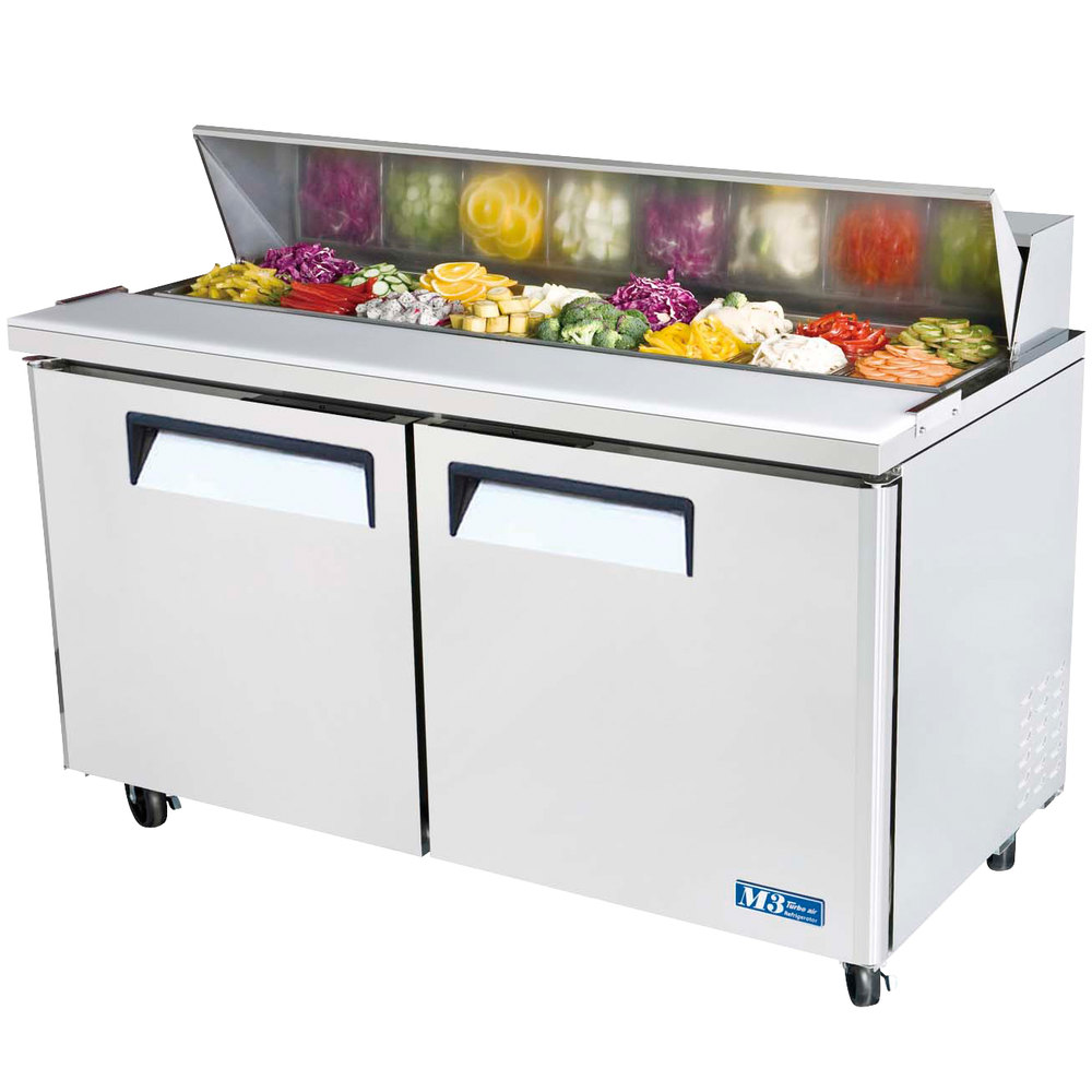 Turbo Air MST 60 60 M3 Series Two Door Refrigerated Salad Sandwich Prep Table
