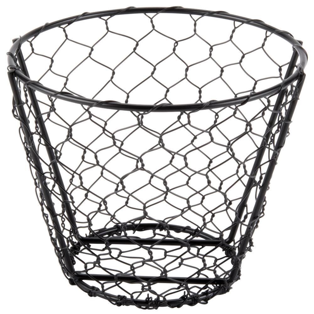 American Metalcraft WIR2 Round Black Chicken Wire Basket