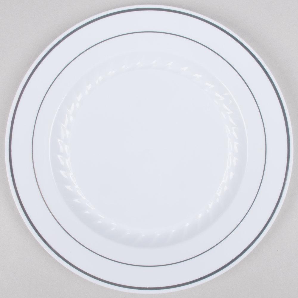 white plastic plates with silver fineline silver splendor