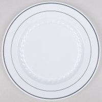 white plastic plates with silver fineline silver splendor
