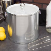 American Metalcraft Ibs32 3 Qt. Silver Ice Bucket With Tongs