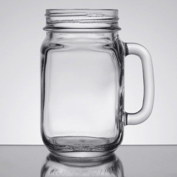 Libbey 97084 16 Oz. Drinking Mason Jar With Handle - 12 Case