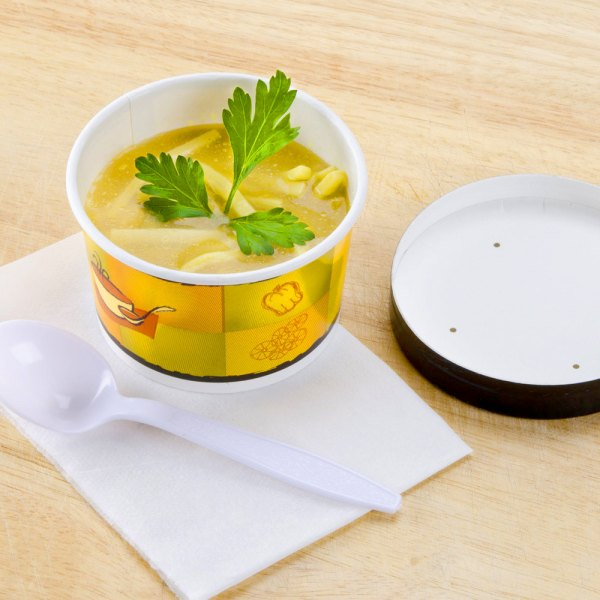 Huhtamaki Chinet 71849 8 Oz. Double-wall Poly Paper Soup Hot Food Cup With Vented Lid