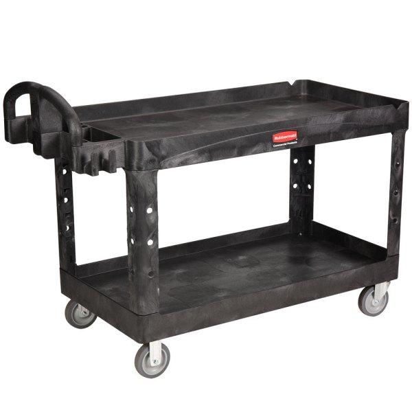 Rubbermaid Fg454600bla Black Large Two Lipped Shelf Utility Cart