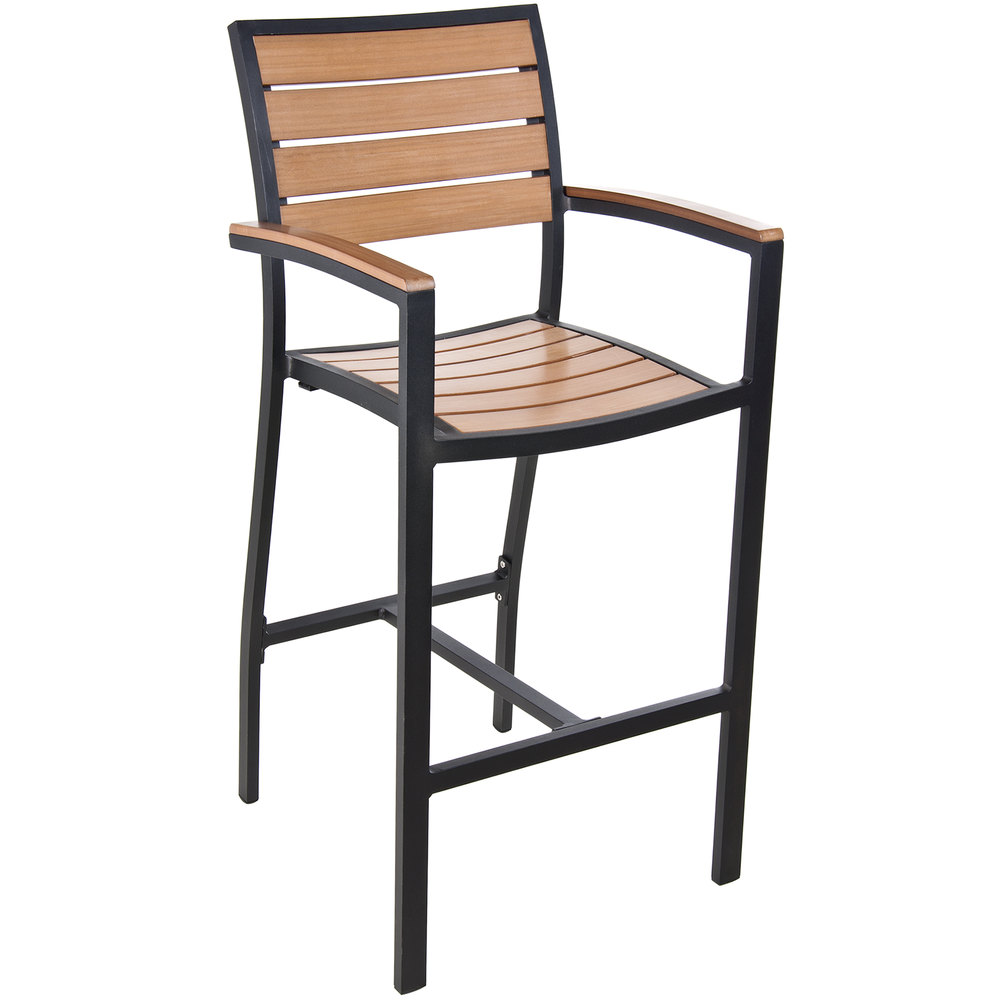 backless chair height stool bedroom chairs for teens bfm seating ph101btkbl largo outdoor / indoor synthetic teak black bar arm