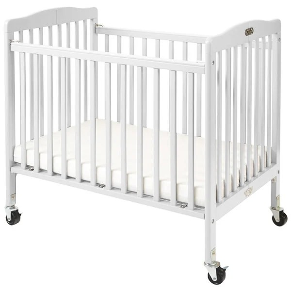L A Baby Cw 883a The Little Wood Crib 24 X 38 White Mini Portable Folding With 3 Vinyl Covered Mattress