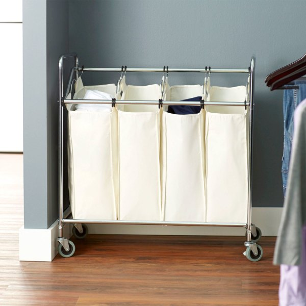 Chrome Laundry Cart Four Compartment With Canvas Bags