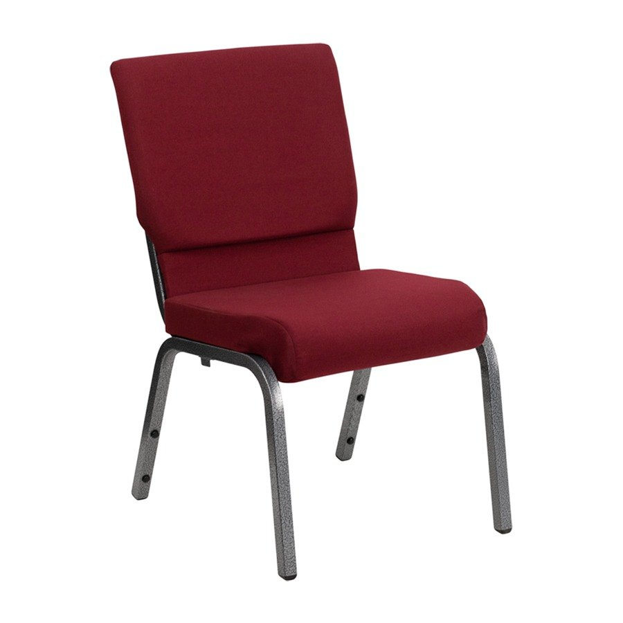Burgundy 18 12 Wide Church Chair with Silver Vein Frame