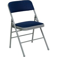 "Navy Blue Metal Folding Chair with 1"" Padded Fabric Seat"