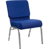 """Navy Blue 21"""" Extra Wide Church Chair with Silver Vein Frame"""
