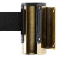 Brass Wall-Mount Stanchion with 10' Black Retractable Belt