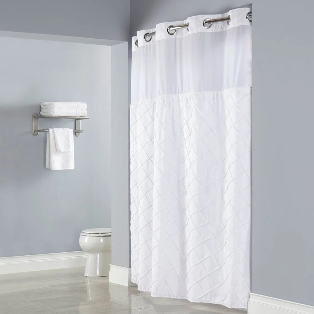Hookless Shower Curtain With Snap In Liner Sheer Window