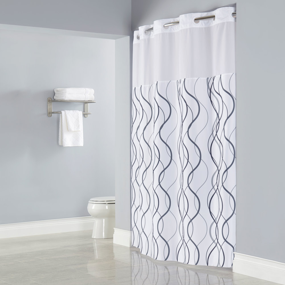 hookless hbh49wav01sl77 white with gray waves shower curtain with matching flat flex on rings it s a snap polyester liner with magnets and