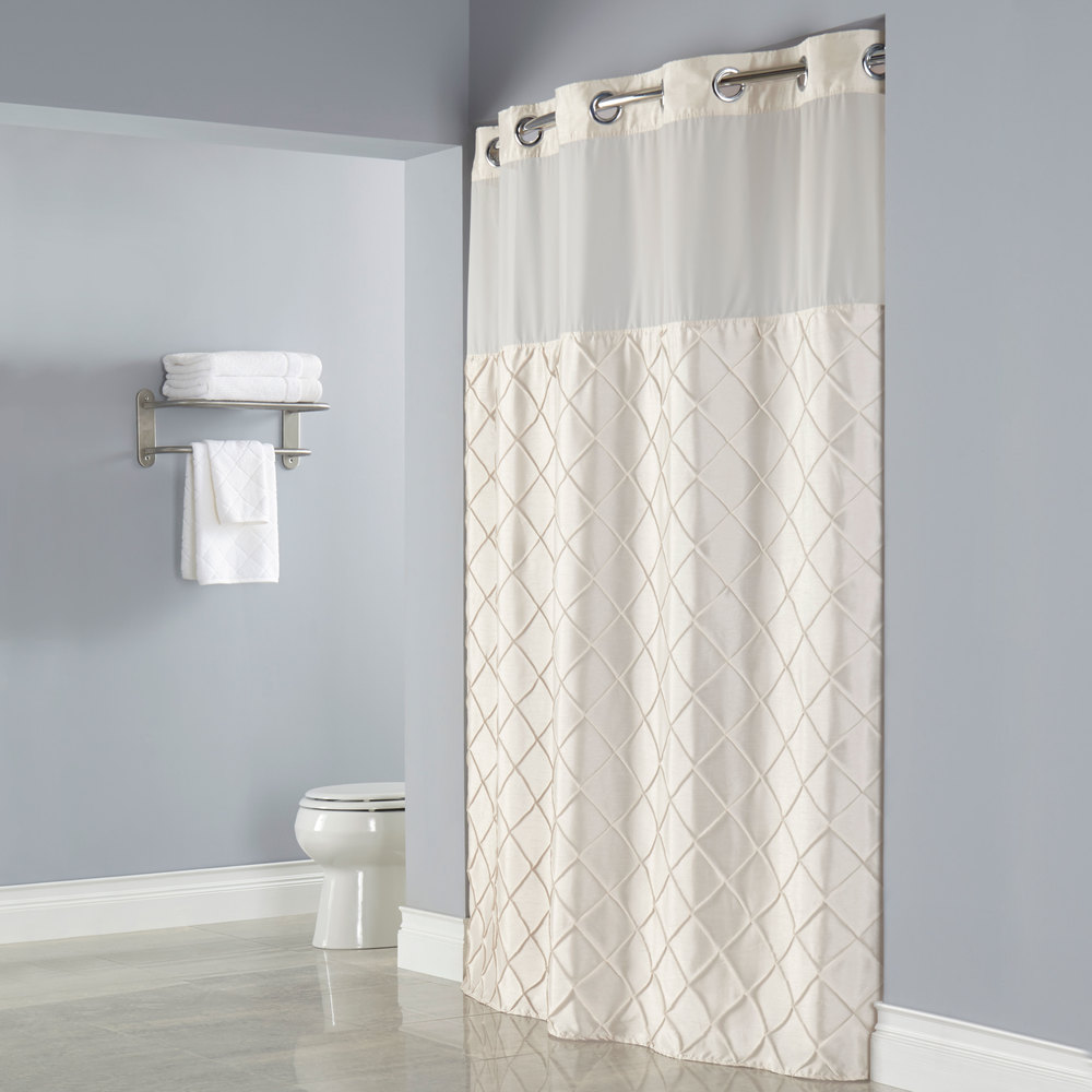 Hookless HBH12PTK05SL77 Beige Pintuck Shower Curtain With Chrome