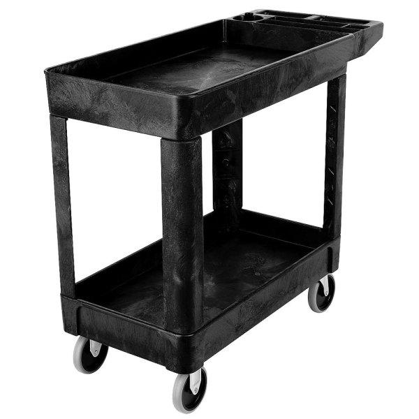 Rubbermaid Fg450089bla Black 500 Lb. Two Shelf Utility Cart 18 X 39 33 1 4