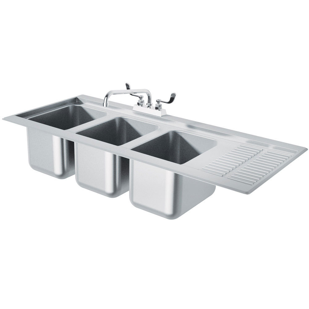 Advance Tabco DBS43L Three Compartment Stainless Steel