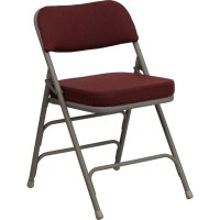 "Burgundy Metal Folding Chair with 2 1/2"" Padded Fabric Seat"