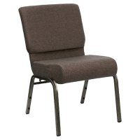 """Brown 21"""" Extra Wide Church Chair with Gold Vein Frame"""